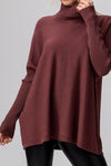 Plum Rib Knit Mock Neck Sweater Tunic