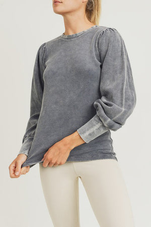 Mineral-Washed Waffle Pullover with Bishop Sleeves