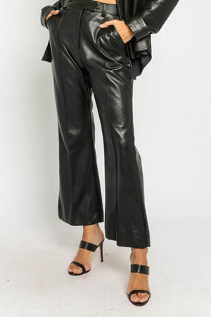 Black Faux Leather Kick Flare Pants