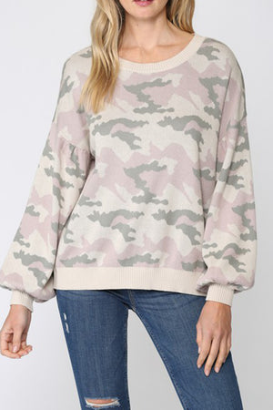 CAMO BALLON SLEEVE SWEATER