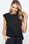 Black Sleeveless Shoulder Pad Top