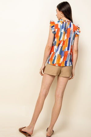 Flutter Sleeve Print Top