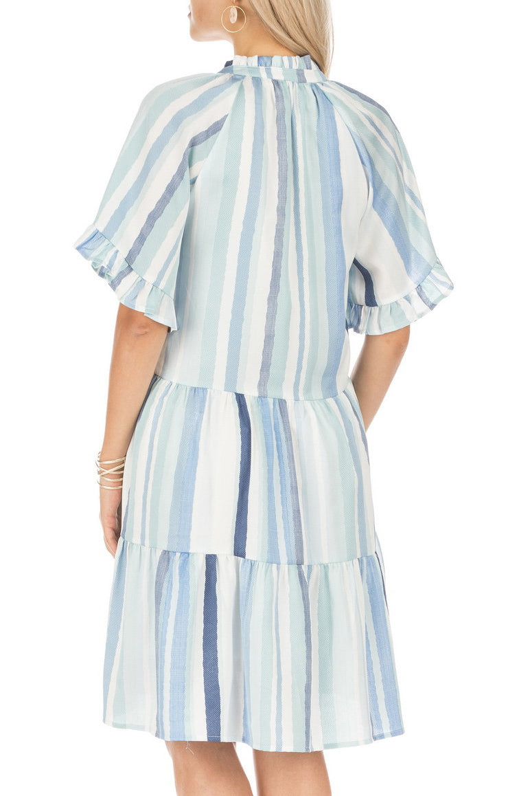 Blue and White Ruffle Sleeve Tiered Dress