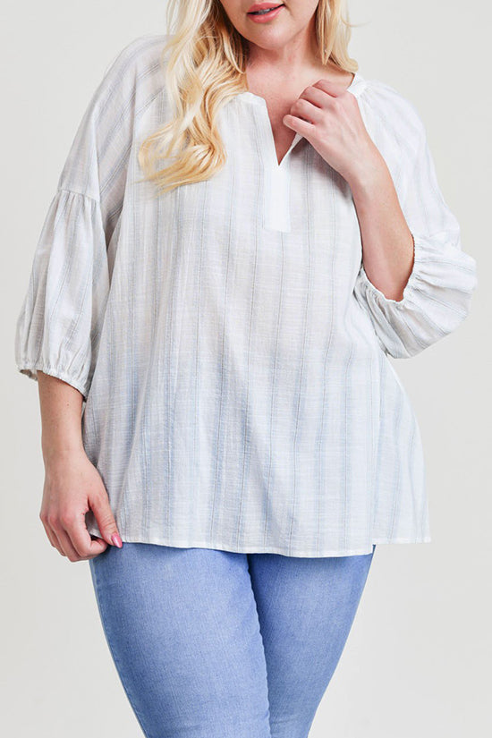 Extended Striped Bubble Sleeve Top