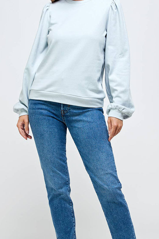 Light Blue French Terry Puff Sleeve Top