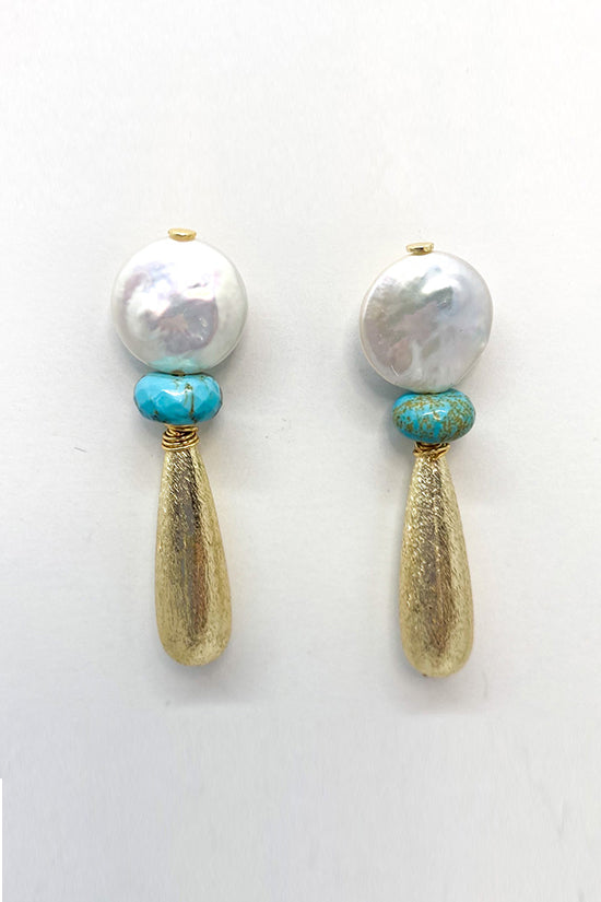 M Donohue Collection Freshwater Coin Pearl and Turquoise Earrings