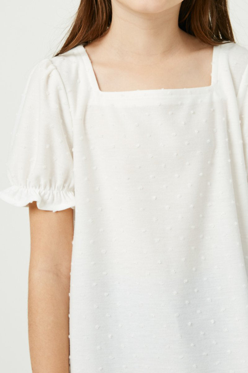Girls Square Neck Swiss Dot Knit Top