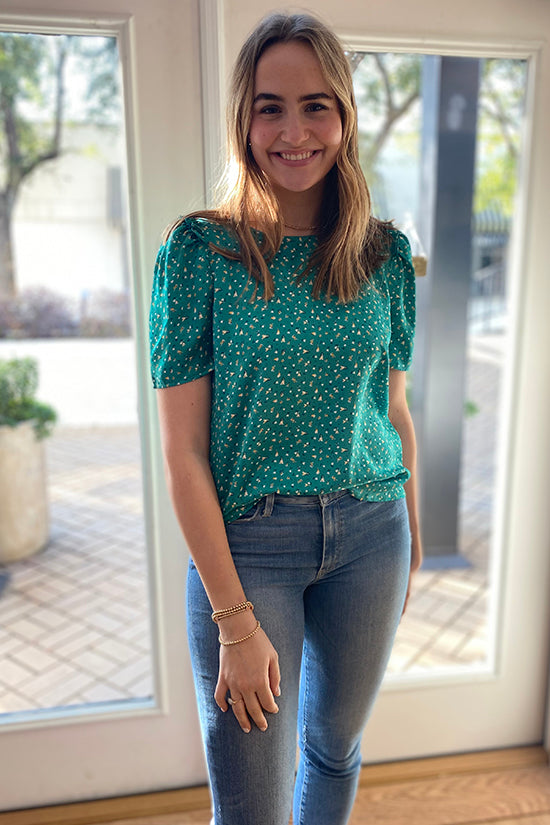 Green Floral Ruffle Sleeve Top