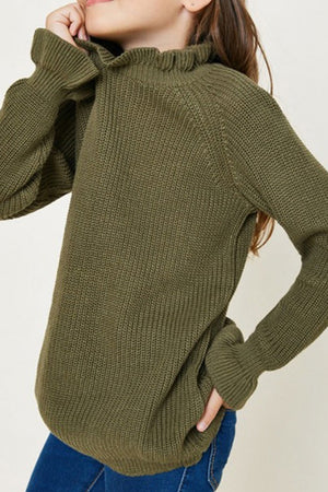 Hayden Girls Mock Neck Olive Sweater