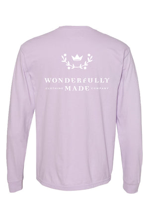 Wonderfully Made Orchid Comfort Colors Long Sleeve TShirt