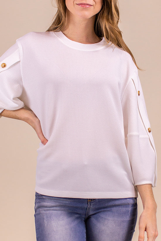 Off White Textured Button Sleeve Top