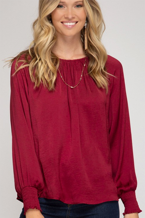 Wine Smocked Sleeve Top