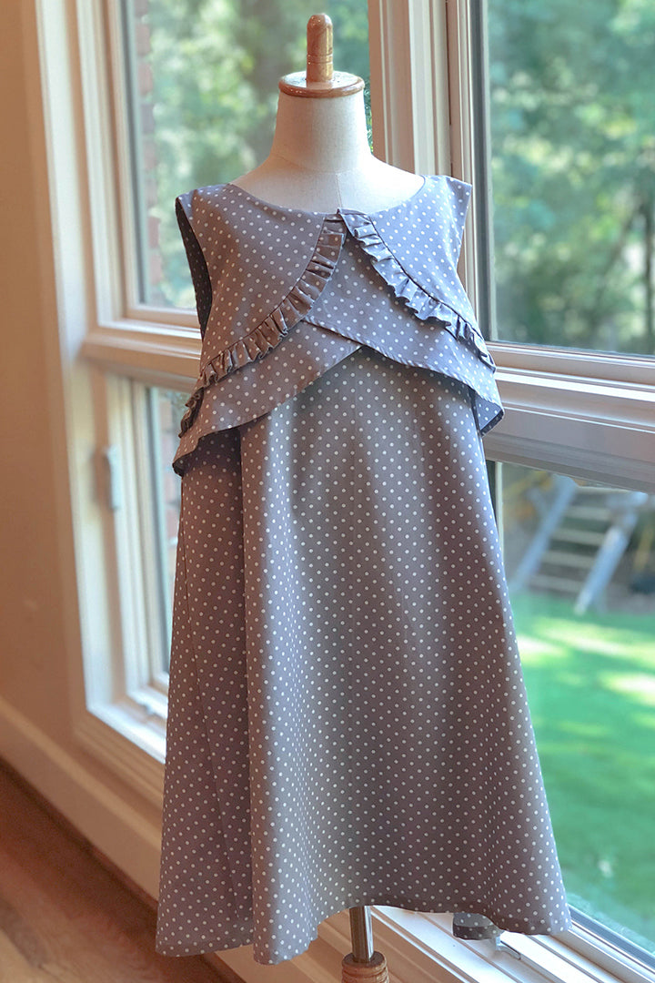 Girls plus size Gray Ruthie Dress with ruffled top