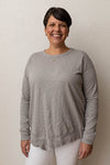 Mododoc Silver Long Sleeve Uneven Hem Top