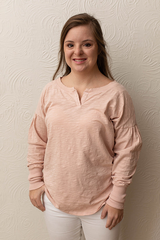 Mododoc Rose Long Sleeve Peasant Top