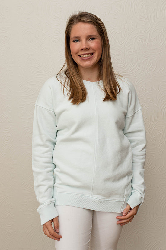 Mododoc Sky Blue Long Sleeve Seamed Sweatshirt