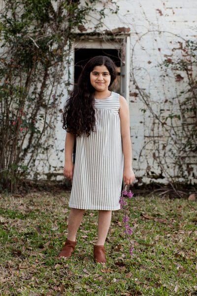 Girls Striped Alike Grey Sophie Dress