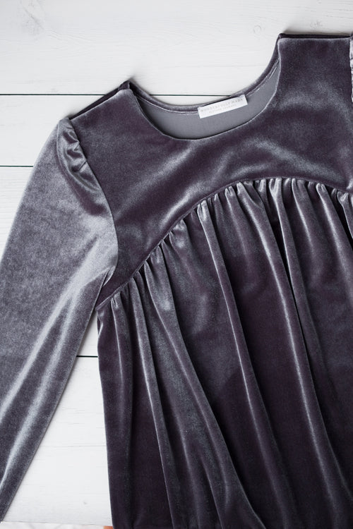 Sophie Charcoal Velveteen Dress