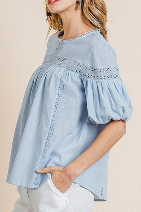Sky Blue Short Puff Sleeve Top