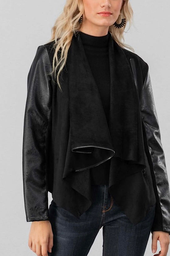 Black Faux Leather and Suede Open Jacket
