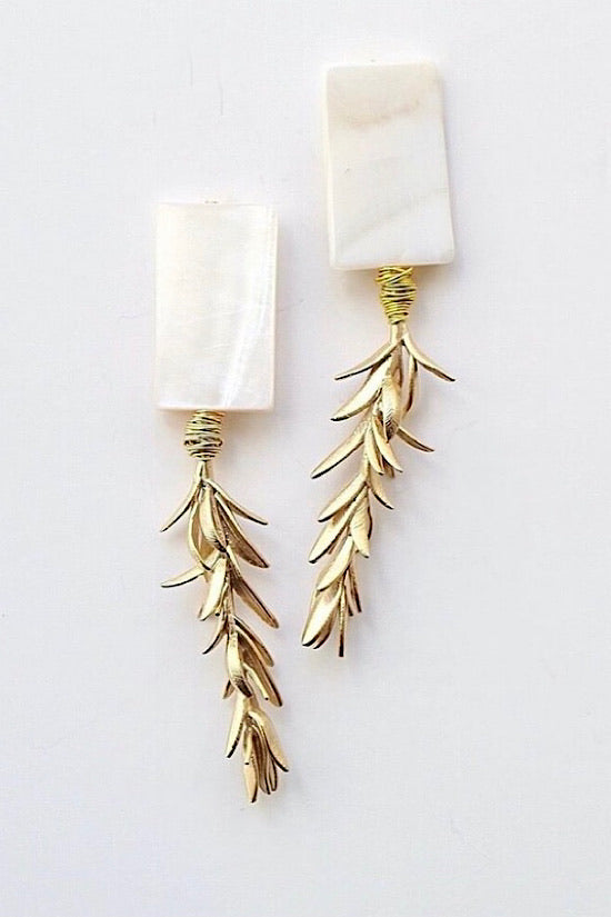 Vivian Drew Pearl and Gold Branch Earrings