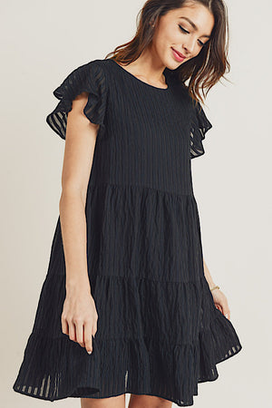 Black Tiered Dress with Ruffle Sleeve
