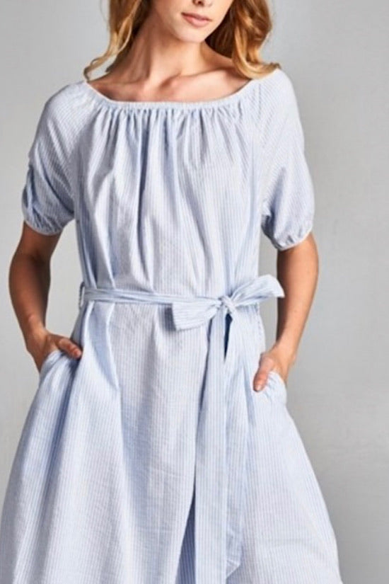 Light Blue and White Seersucker Stripe Dress