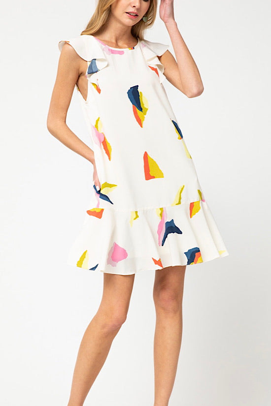 Off White Ruffle Sleeve Dress