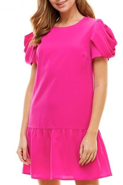 Magenta Round Neck Dress with Short Draped Sleeve