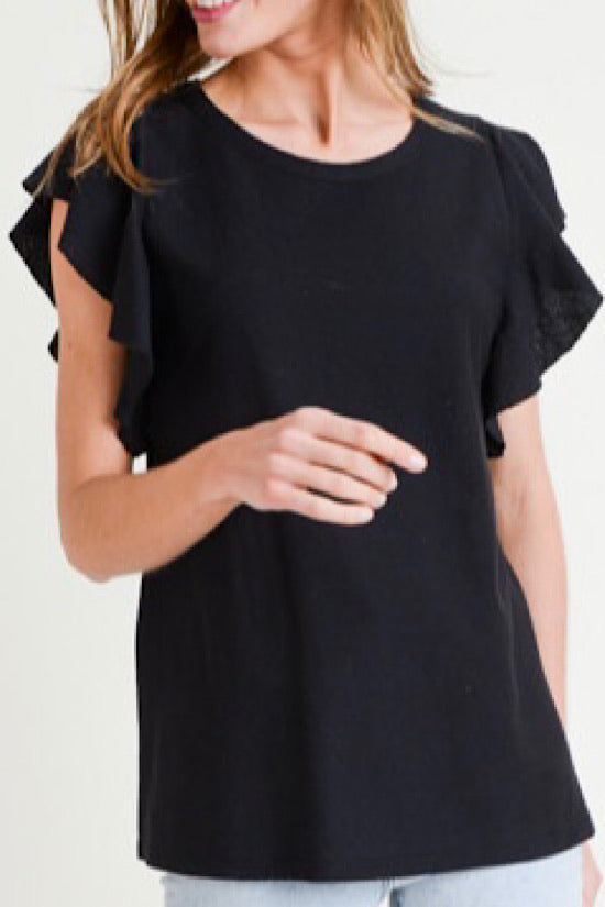 Black Flutter Sleeve Top