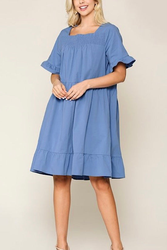 French Blue Square Smocked Neck Ruffle Dress with Side Pockets