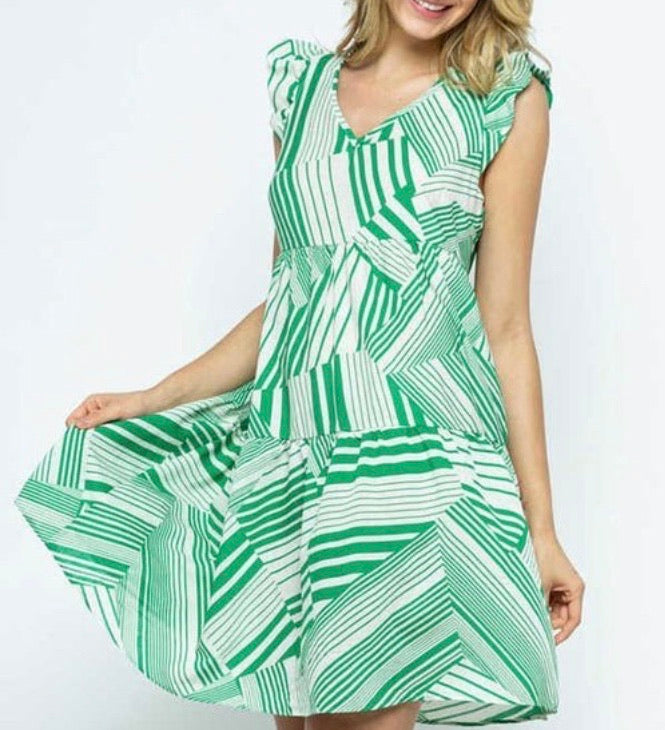 Green and White Ruffle Sleeve Dress