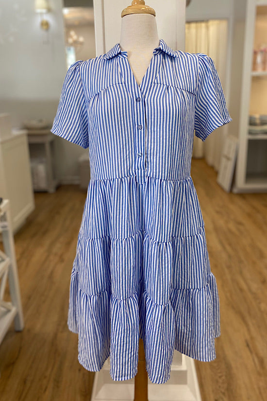 Blue and White Stripe Tiered Dress