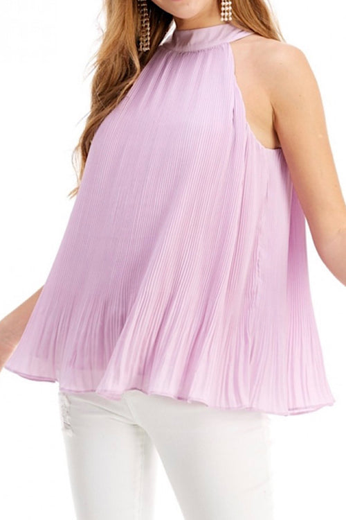 Lavender Sleeveless Pleated Top