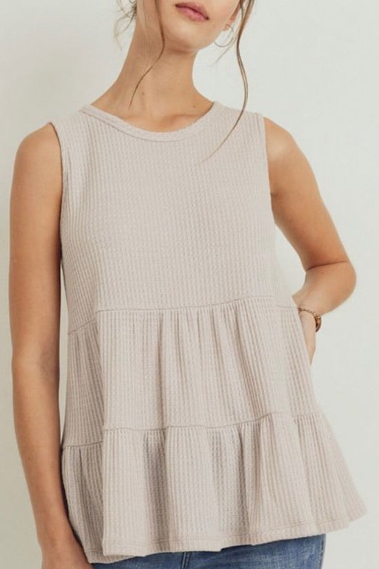 Light Taupe Waffle Knit Top