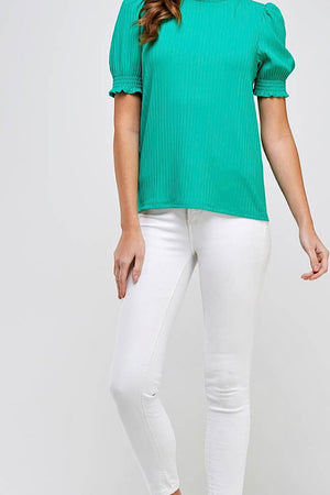 Green Ribbed High Neck Top
