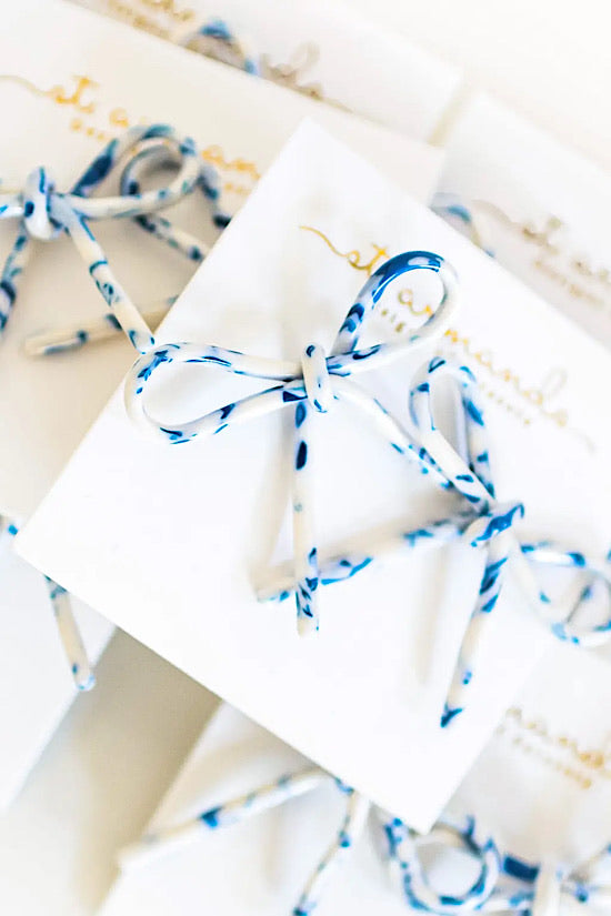 Blue and White Tortoise Bow Earrings