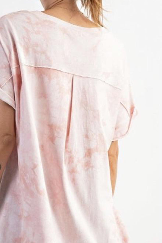 Light Coral Tone on Tone Tie Dye Top