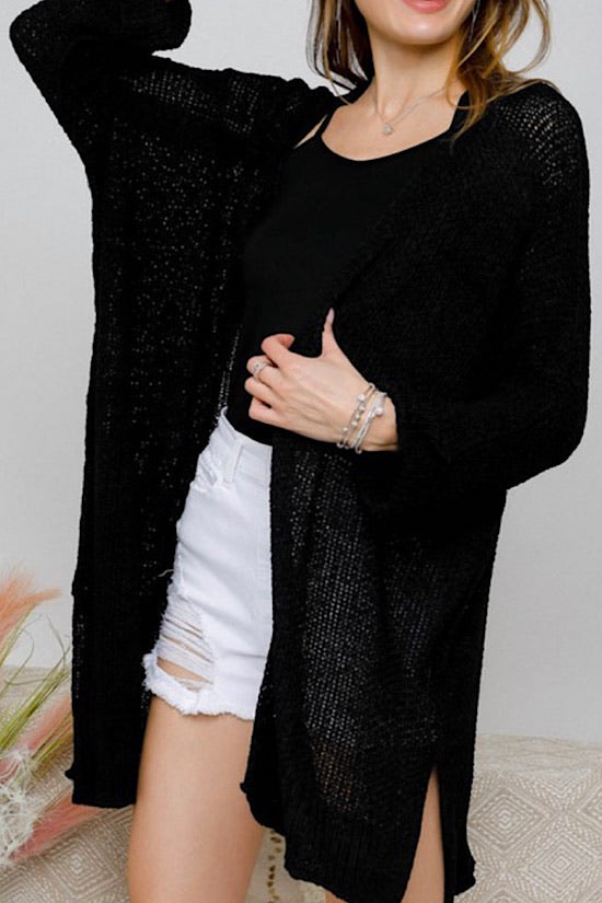 Black Long Sweater Cardigan