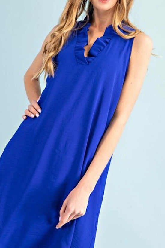 Royal Blue Sleeveless Dress with Ruffle Detail
