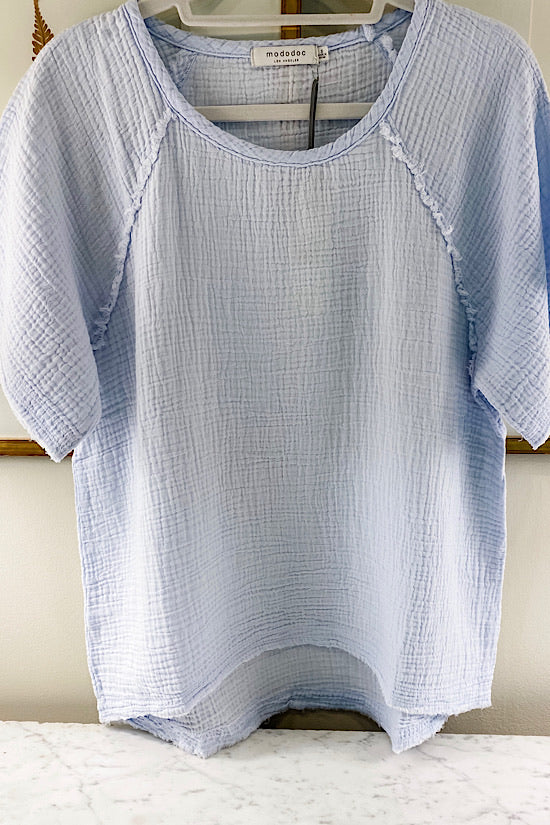 Fresca Blue Gauze Top