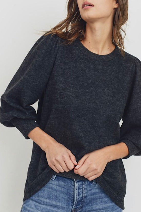 Charcoal Brushed Knit Top