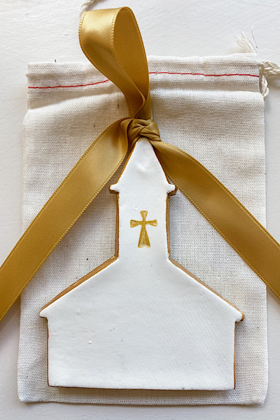 RESTOCKED! White Church with Gold Cross Ornament