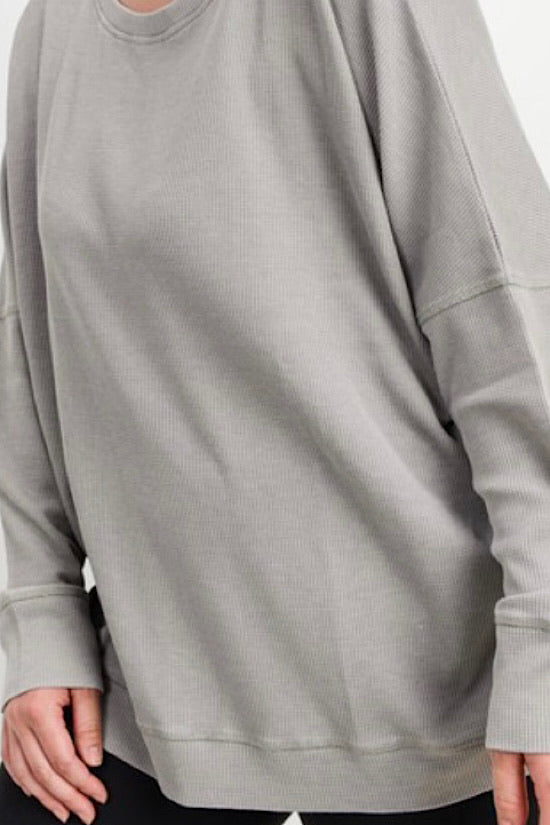 Light Grey Waffle Ribbed Roundneck Pullover