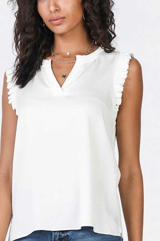 White Ruffle Sleeve Top with Metallic Trim