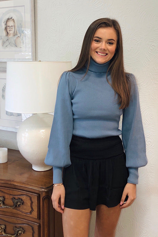 Blue Rib Knit Turtleneck Puff Sleeve Top