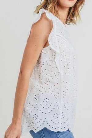 White Ruffle Sleeve Eyelet Lace Top