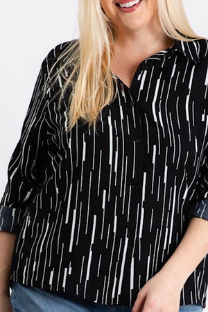 Black and White Pattern Long Sleeve Top