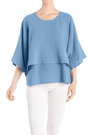 Double Layer Blue Gauze Top