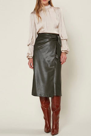 Dark Green Faux Leather Midi Wrap Skirt